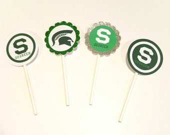 12 MSU Sports Cupcake/Cake Pop Toppers/Tags
