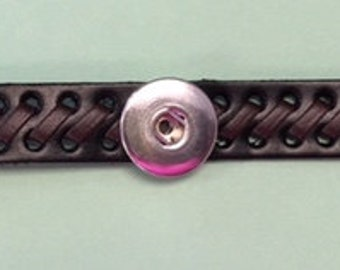 Quality New Leather Interchangeable Snap Bracelet  Perfect for Men and Women - Adjustable - Great Price!!