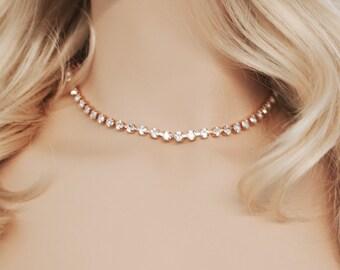 Rose Gold Diamond Bridal Marquise Choker Swarovski Crystal