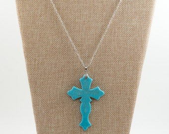 Turquoise Blue Cross Necklace and Earrings Set