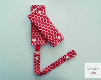 Covers with clip - pacifier clip with pink polka dots