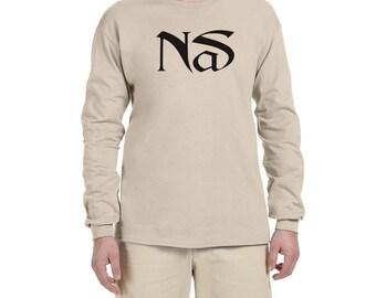 Nas BLACK LOGO Long Sleeve T Shirt Classic Hip Hop Tee Rap Nasir New York Rap illmatic New Long Sleeve Vintage Style Rappers New