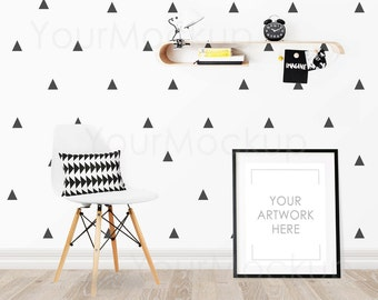 Kids room, Nursery print, Styled Frame Mockup, Black Frame, Scandinavian, Styled Photo Mockup, Mock-up, Digital Frame, Instant download