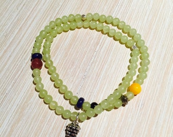 Green grapes crystal silver beads bracelet