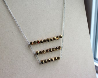 Geometric, Three-tier Necklace - Gold