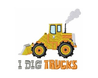 I Dig Construction Trucks-machine embroidery design