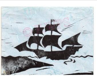 Original lino print of galleon ship