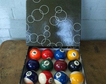 Billiard Pool Balls with Rack