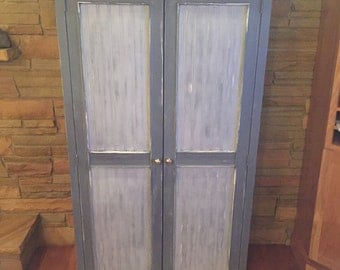 Distressed Grey Armoire