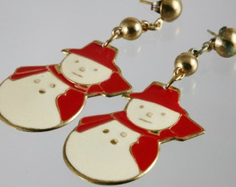 Vintage Red and Cream Enamel Snowman Post Earrings