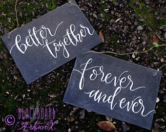 Wedding chair signs chalkboards. Hand written and sealed.