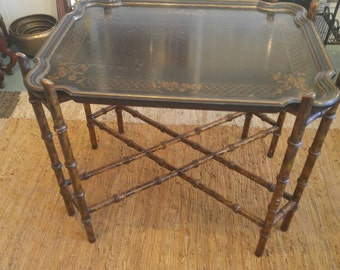 Vintage Asian Bamboo Table with Hand-Painted Serving Tray.