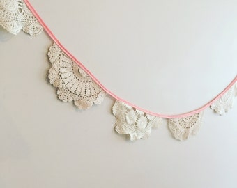 Pretty In Pink Vintage Doily Bunting 2.5 metres long