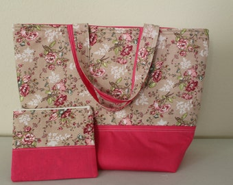 Pink flowery tote bag with matching zipper pouch
