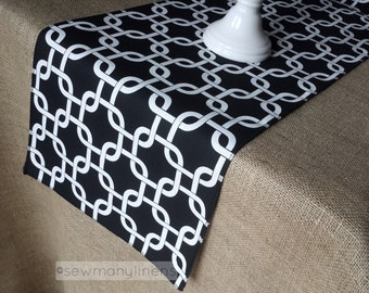 Modern Table Runner Black and White Linens Geometric Dining Kitchen Home Decor Table Centerpiece Party Decoration