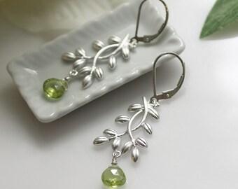 silver drop earrings, silver and peridot, peridot earrings, August birthstone, silver earrings