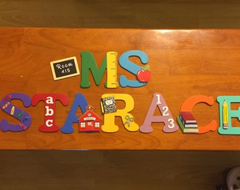 BACK to SCHOOL / TEACHER Theme Hand-Painted Wooden Letters for Classroom