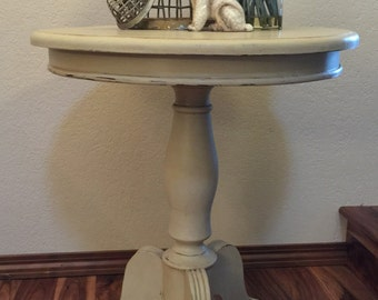 SOLD -Beige Pedestal Occasional table Side table bedside table Hand painted furniture living room table bedroom firmiture