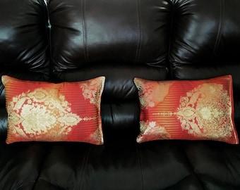 "Hand-made pillows with Kimono-obi (Traditional silk craft) ""sash"" from Japan"