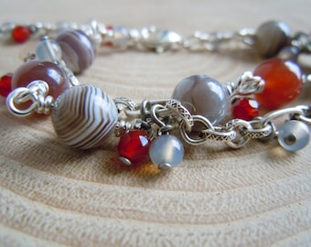 Bracelet double Botswana Agate, Carnelian, Agate grey and silver plated brass - Bohemian chic - made in France