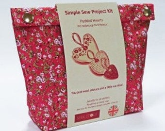 Liberty inspired print Sewing Kit - Padded Hearts (Bright)