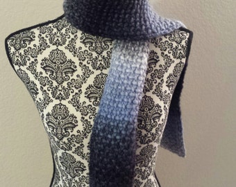 Black and Blue Linen Stitch Scarf