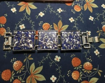 Royal Blue and Silver Lucite Bracelet