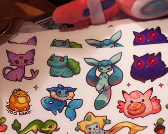 Cute Pokemon Vinyl Stickers #10 - eeveelution, snivy, psyduck, bulbasaur