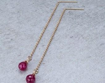 Ruby Earrings/Faceted Ruby Briolette Earrings on Gold Filled Ear Threaders/July Birthstone