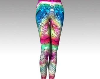 Abstract Leggings, Abstract Capris, Rainbow Leggings, Rainbow Capris, Printed Leggings, Printed Capris, Festival Leggings, Hooping Leggings