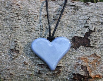 Rustic Dusty Purple Heart Necklace