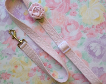 Pink, Yellow or Green Linen Rose Flower Dog or Puppy Leash