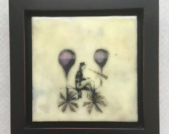 Set your sights and fly high! Encaustic beeswax painting, original painting