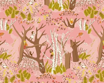 Tiger Lily, Climbing Trees, by, Heather Ross, for Windham Fabrics, 40927, pink