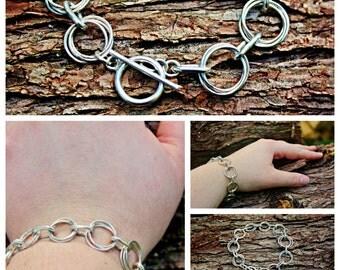 Sterling Silver Rosette Link Bracelet