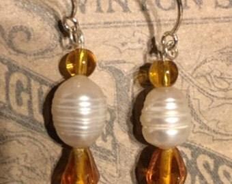 Pearl Amber Sterling Silver Earrings