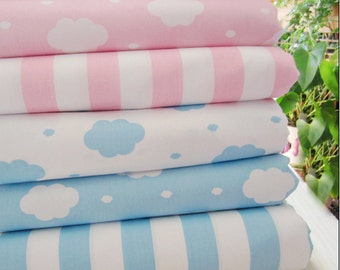 cloud pattern fabric, stripe fabric,pink and blue prints