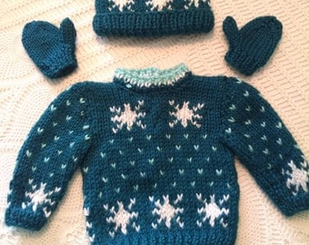 American girl doll sweater set with snowflakes.