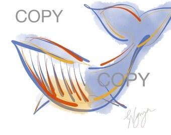 Whale art, Printable art, instant download, original illustration