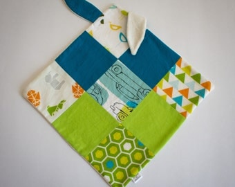 square blankies with bunny ears, snugly, cuddly, taggy, blanky, comforter, security blanket, baby toy, baby shower gift