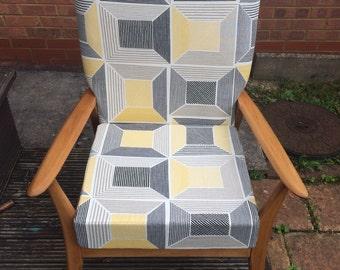 Pine armchair in retro IKEA fabric