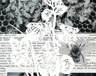 Bee paper cut collage