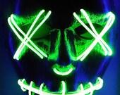 Green LED Purge Rave Mask for DJ, Edc, Ultra, Music Festival, Concerts, Clubs, EDM