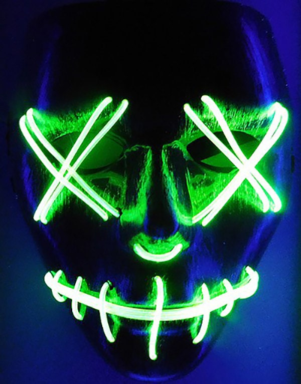 Green Led Purge Rave Mask For Dj Edc on flower crown headband