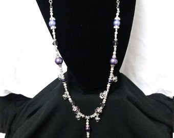 Fun and Elegant Purple and Silver Key and Crown Necklace and Earring Set