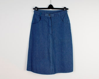 Blue Denim Skirt Vintage Pencil Knee Lenght Skirt Navy Dark Blue Pencil Front Slit Denim Jeans Skirts Women Low Waist 90s style