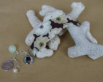 Liberty Brown flowers and charms bracelet