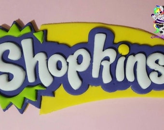 Edible Fondant Shopkins Logo 14.5cm can personalize with any name!
