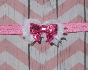Sequin Pink Bow - Damask Headband-Infant- Toddler-Hair Clip-Hair Accesories