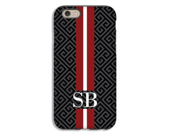 Monogram iPhone 7 case, rugby stripe iPhone 6s Plus case, iPhone 6s case, greek key iPhone 6 Plus case/6 case, Personalized gifts for him